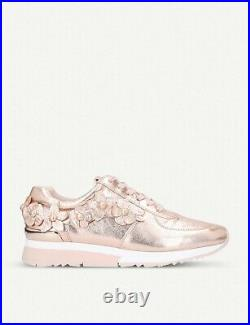 Michael Kors Womans Trainers Rose Gold Floral Shoes Size 6 / 39 MK leather