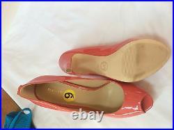 Michael Kors Women Patent Coral Open Toe Heel Sandals Shoes size 9 New