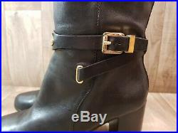 Michael Kors Women's Black Leather Arley Knee High Riding Boots Size 8M