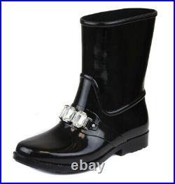Michael Kors Women's Black Leslie Gem Rainbootie Rain Boot Shoes Ret $150 New