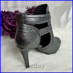 Michael Kors Women's Blaze Open Toe Bootie Heels Size 10M Sparkle Grey Metallic