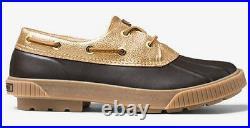 Michael Kors Women's Duck Boot Hyde Brown Gold MK Logo Shoe Sz 6 8 10 NIB