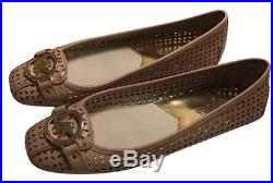Michael Kors Women's Fulton Moc Lasered Leather Flats, Luggage/ Brown