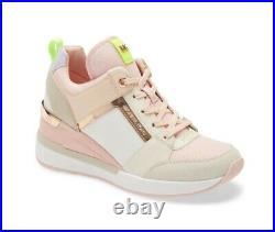 Michael Kors Women's Georgie Trainer Sneaker Shoes Cream Multi Pink Size 7.5