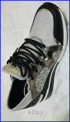 Michael Kors Women's Liv Trainer Extreme Sneakers Shoes Silver Multi 9M