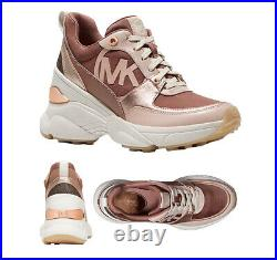 Michael Kors Women's Mickey Trainer Tech Canvas Dark Fawn Sneaker Shoes