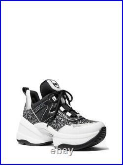 Michael Kors Women's Olympia Trainer Chunky Glitter Sneaker Shoes Black/Silver