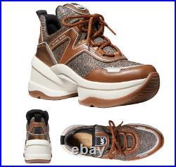 Michael Kors Women's Olympia Trainer Glitter Chain Mesh Bronze Sneaker Shoes