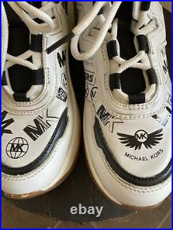 Michael Kors Women's Olympia Trainer Sneaker Shoes Optic White and Black Sz 7
