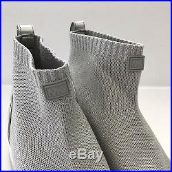 Michael Kors Women's Skyler Sneaker Size 8.5 Textile Knit Silver Bootie Wedge