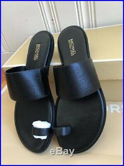Michael Kors Women's Sonya Leather Toe Ring Flat Sandal, Black