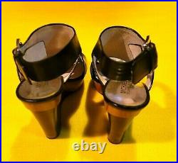 Michael Kors Women's Wedge High Heels Shoes Size 7M Leather Strap Black / Brown