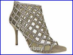 Michael Kors Women's Yvonne Booties Khaki Rhinestone-Embellished Caged Shoe 10 M