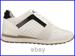 Michael Kors Womens Billie Trainer Lasered Leather White Sneakers Shoes 7.5 -10