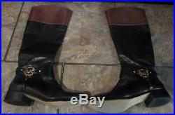 Michael Kors Womens Black-Brown Riding Boots Sz 8.5M ST14H EUC