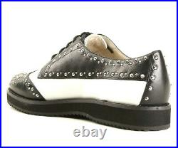 Michael Kors Womens Black White Leather Studded Lace Up Oxfords Shoes Size 6 B
