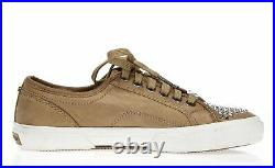 Michael Kors Womens Brown Leather Lace Up Studded Sneakers Shoes Size 6 M