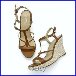Michael Kors Womens Cicely Leather Strappy Wedge Sandals Brown Size 7 Shoes