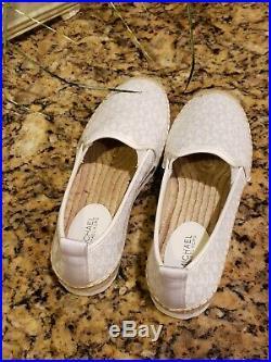 Michael Kors Womens Espadrilles Signature Logo Shoes White Size 10