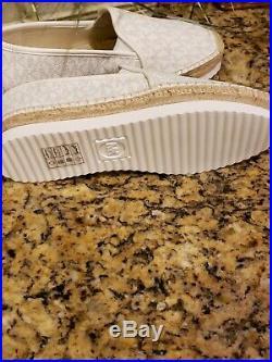 Michael Kors Womens Espadrilles Signature Logo Shoes White Size 8