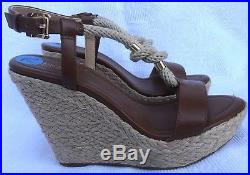 ad75a61a22d02 Michael Kors Womens Holly Rope-Trim Brown Leather Wedge Sandals Size 7.5 M  New