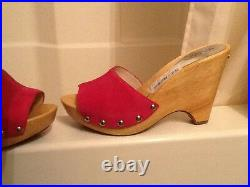 Michael Kors Womens Hot Pink Suede Easton Wooden Sandals Heels shoes NEW 8