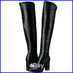Michael Kors Womens Sabrina Side Zip Over The Knee Tall Fashion Chain Heel Boots