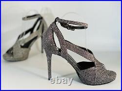 Michael Kors Womens Shoes Becky Peep Toe Silver Shimmer High Heels Sandals