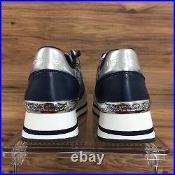 Michael Kors Womens Sneakers Fashion MK Logo Shoes White/Blue Size 9.5 New