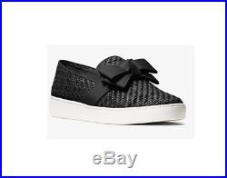 Michael Kors Womens Val Woven Bow Slip On Sneaker Shoe Black Size 37 NEW