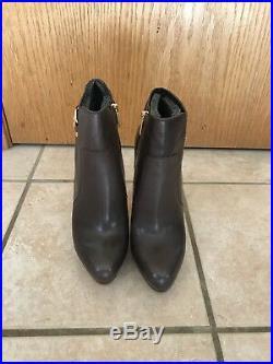 Michael Kors Wyatt Bootie Dark Chocolate Leather Size 10
