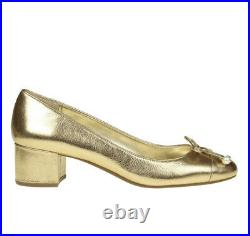 Michael Kors shoes Gia Pearl Mid Pump. Gold leather/patent. Size uk 5.5 eu 38.5