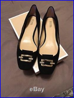 Michael Kors womans Gloria Black Ballet Flat Suede Gold Trim shoes Size 9M