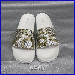 089a0b257da0 Michael Michael Kors Studded Logo Gilmore Pool Slides Sandals Women s Size  (9)