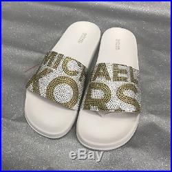 b181cf585cf4 Michael Michael Kors Studded Logo Gilmore Pool Slides Sandals Women s Size  (9)