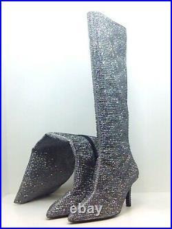 Michael Michael Kors Women's Shoes Katrina boot Leather, Black/Silver, Size 8.5