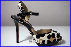 Michael by Michael Kors Bailee Suntan Leopard-Print Calf Hair Sandals Size 7.5