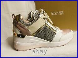 Michael kors Trainers Platform Lace Up Gold Silver Taupe Shoes Size Uk5 EU38