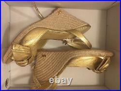 Michael kors shoes 9.5 Espadrilles Gold Bow NIB Wedges