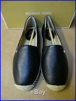 NEW MICHAEL KORS Kendrick Slip-On Espadrille Leather Loafer Black Silver MK Logo