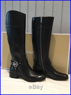 NEW MICHAEL KORS SMOOTH BLACK LEATHER RIDING KNEE BOOTS UK rrp £320! 7 EU 40