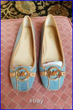 NEW MICHAEL KORS Women 8M Fulton Moc Washed Denim Fabric Shoes AUTHENIC NIB