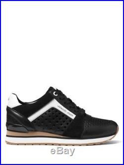 NEW MICHAEL MICHAEL KORS Billie Leather and Suede Trainer Sneakers SIZE 9/BLACK