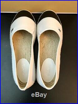 NEW MICHAEL Michael Kors Kendrick Espadrille White/Black Flats SZ 7