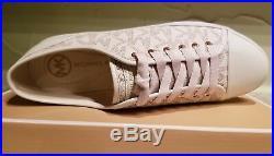 NEW MICHAEL Michael Kors Women's City Sneaker MK Signature Size 8.5 Vanilla