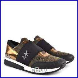 NEW Michael KORS TRAINER MK Glitter Chain Mesh Silver Bronze Sneakers sz. 8.5