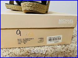 NEW Michael Kors Giovanna Mandarin Black Wedge Sandals Shoes size 9