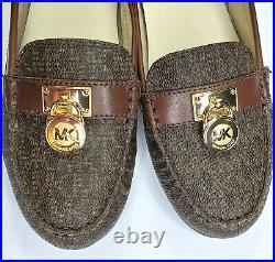 NEW Michael Kors Hamilton Driver Mocassins Mini Padlock Logo Brown Size 7M Shoes