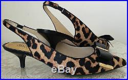 NEW Michael Kors Kiera sling haircalf slingback pumps shoes black leather $155