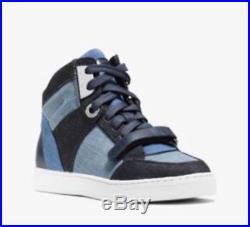 NEW Michael Kors Ollie High Top Patchwork Denim Sneaker Women's Shoes 8